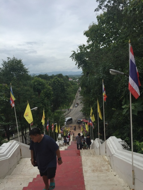 From the top of the stairs to the wat.