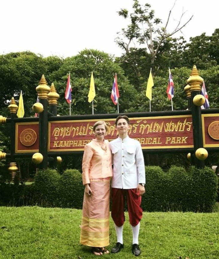 Leo and I by the entrance of the historical park.