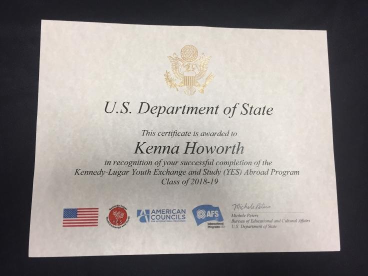 My certificate
