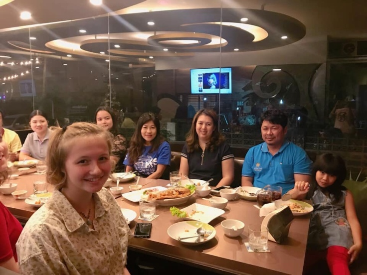 My host family and I at dinner with my teachers.